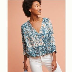 Anthropologie Printed Wrap Top